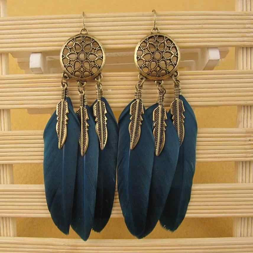 Phong cách Bohemia Bông Tai Lông Dài Thiết Kế Dream Catcher Earrings đối với Phụ Nữ Đồ Trang Sức Trang Trí Lông Bông Tai Oorbellen Bijoux
