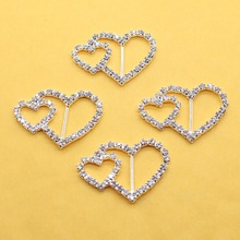 10Pcs/Set 37*25MMHeart Shape Rhinestone Buckles Diamond Buttons Invited to the Wedding Rbbon Rlider, DIY Hair Ornaments, Factory(China)