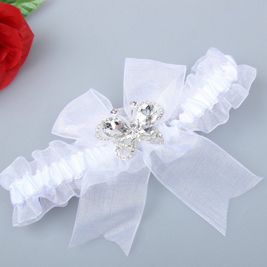 Crystal Wedding Garter: Wedding Garter Belt With Crystal Butterfly Bow Lace Bridal