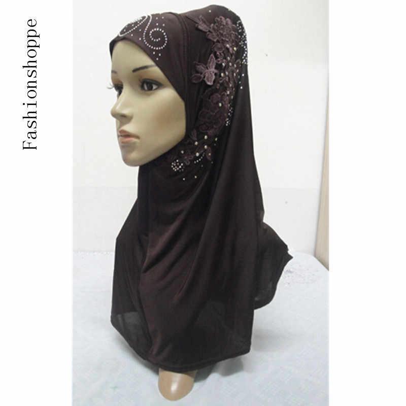 Fashion Rhinestone Bordir Wanita Muslim Bungkus Gaya Jilbab Islam Syal Arab Syal Hiasan Kepala YS694