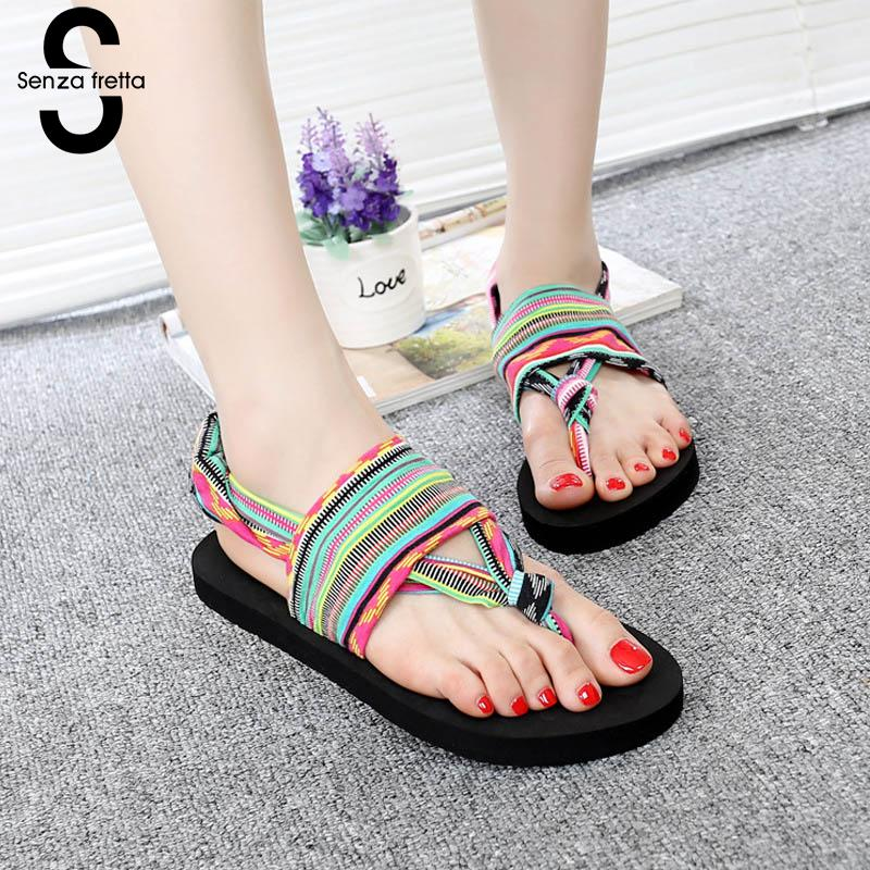 Senza Fretta 2018 New Summer Black Beach Shoes Woman Bohemia Sandals Non-Slip Flat Women Flip Flops Sandals Lace Up Sandalias 2017 new summer fashion flip flops women s beach sandals cover heel black flower flat shoes slip on sandalias mujer for women