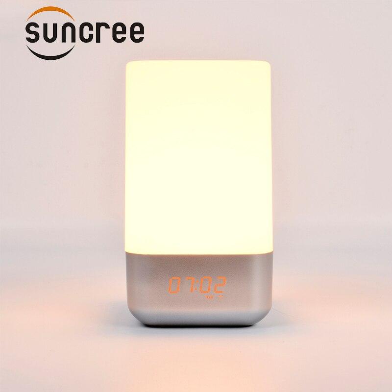 Multi-fonction réveil réveil lumière de nuit creative accueil chambre de chevet gradation LED petit Numérique Table De Bureau d'alarme horloge