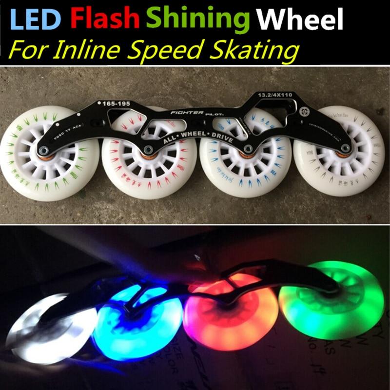 8 Pieces Original JKHD LED Flash Shining Inline Speed Skates 86A Wheel 100mm 110mm 125mm Skating
