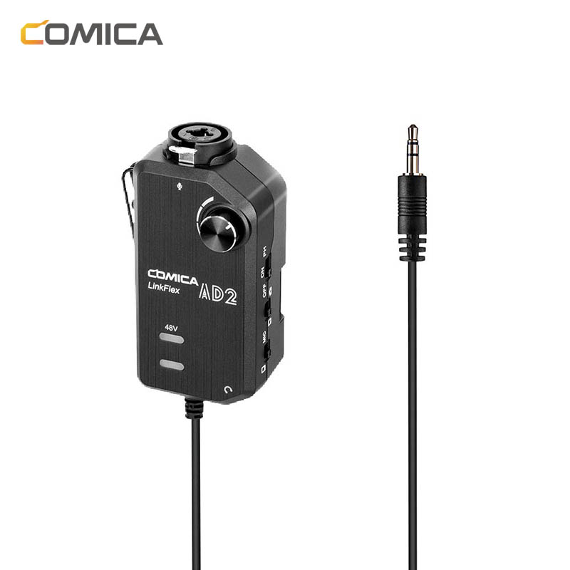 Comica AD2 XLR/ 6.35mm Microphone Preamp With XLR/Guitar Interface Adaptor For IPhone IPad Mac/PC, Android Phone DSLR Cameras