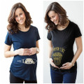 Summer Maternity Funny Baby Peeking Out T Shirts Black  Pregnant Women Tops Tees Clothes Pregnancy Wear Clothing Hot Sale