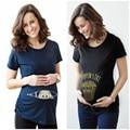 Verano de Maternidad Bebé Divertido Que Asoma Camisetas Negro Ropa de Embarazo Las Mujeres Embarazadas Tops Tees Ropa Desgaste de la Venta Caliente