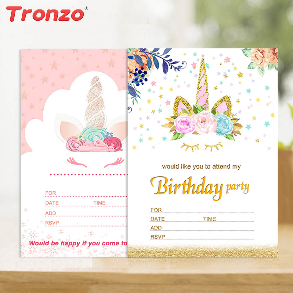 Discount Tronzo Unicorn Invitations Card Unicorn Party 10pcs Cute ...