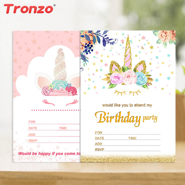 Tronzo Unicorn Invitations Card Unicorn Party 10pcs Cute Birthday