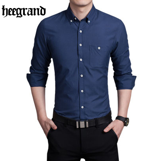 HEE GRAND 2017 Simple Style Comfortable High Quality Spring Men Fashion Long  Sleeve Shirt Male Shirts MCL1967 32f354b6cdf3