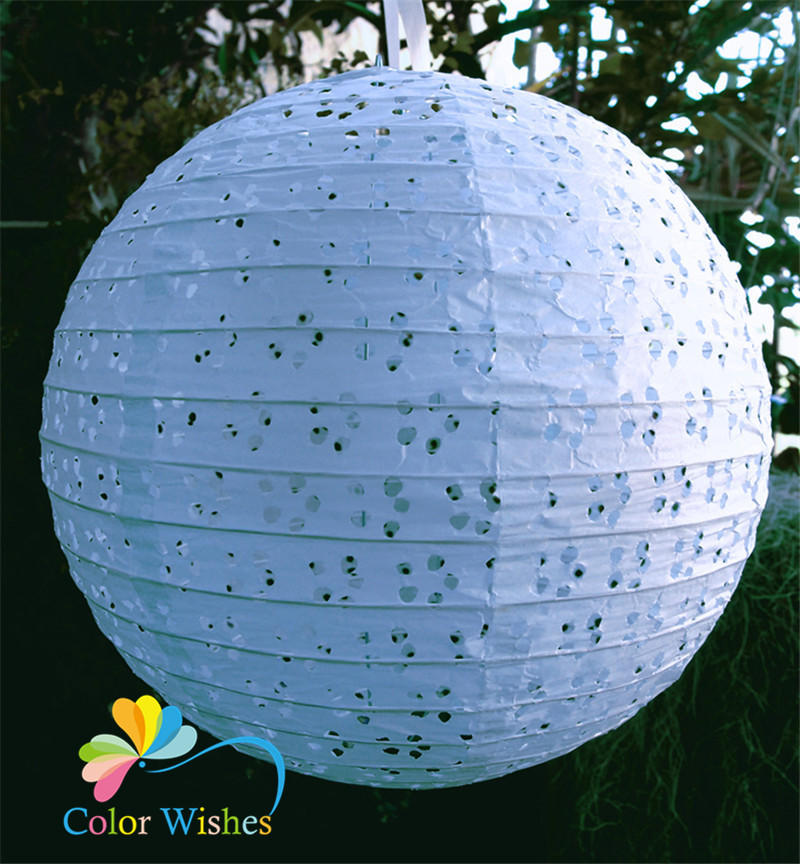 8inch 20cm 5pcs Lot Handmade Round Eyelet Lace Look Paper Lanterns Hanging Wedding Birthday Party Holiday Decorations In From Home Garden On