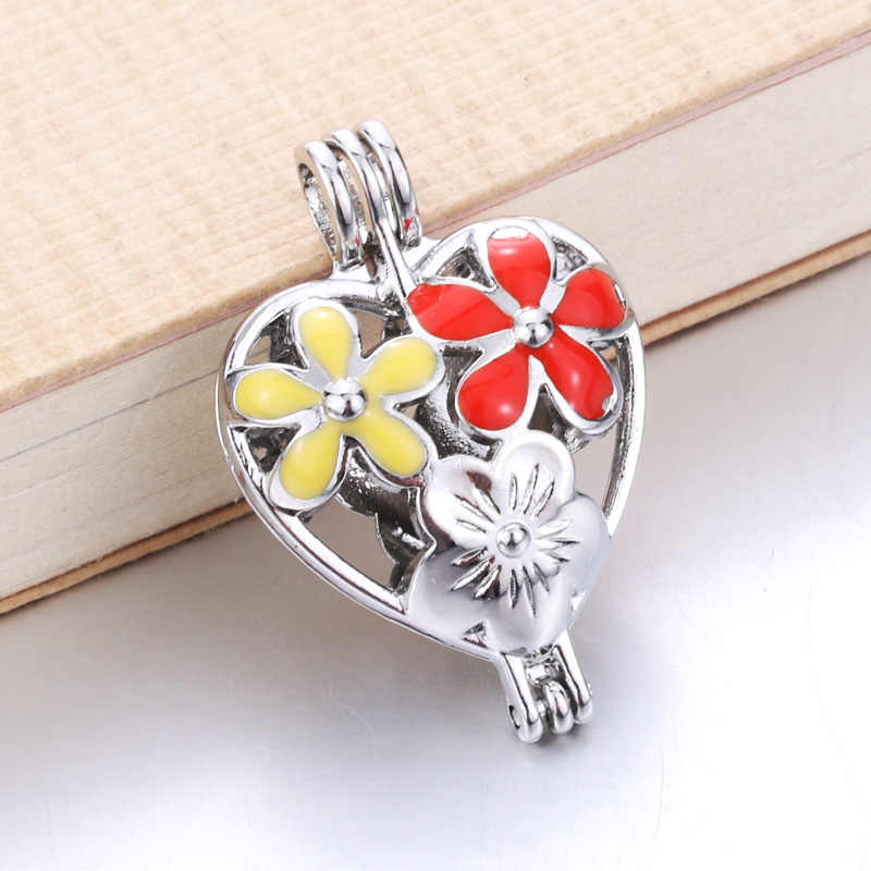 6pcs Heart-shaped Color Pearl Cage Pendant Locket Jewelry Making Bead Cage Aroma Essential Oil Diffuser For Oyster Pearl