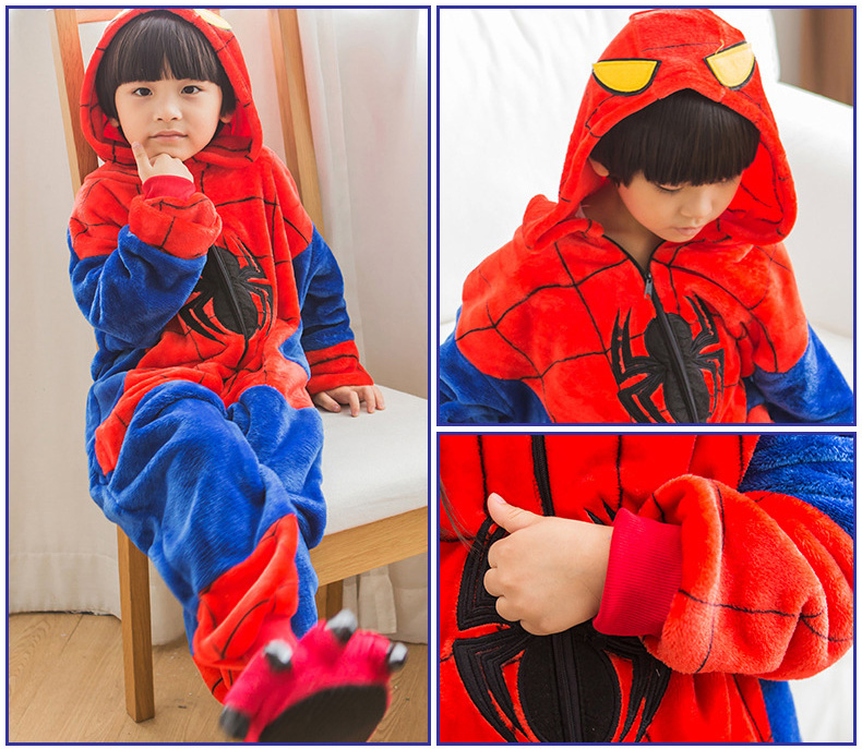 Mioigee 2018 spiderman children kigurumi Boys Casual Flannel Keep Warm  Pajamas Girls Winter Fashion Cute Pajamas kids Clothes-in Blanket Sleepers  from ... 783287579
