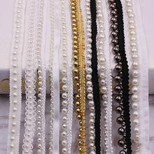 1yard/lot White black Pearl Bead lace Ribbon Tape fabric Trim Ribbons for DIY Sewing Garments Handmade Clothing Accessories