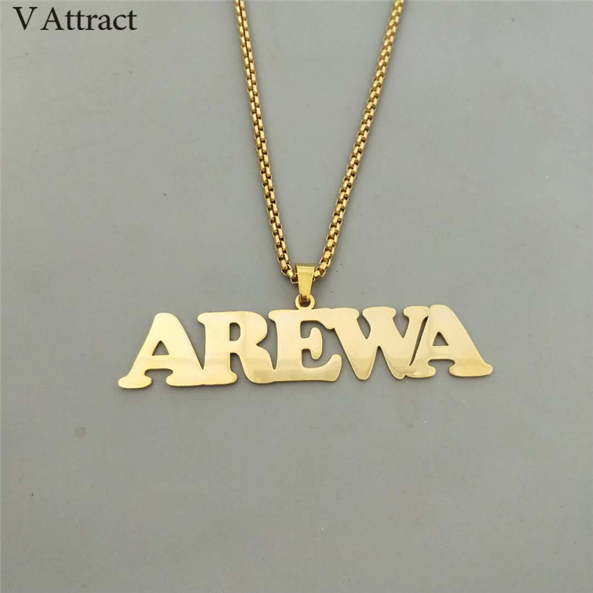 V Attract Stainless Steel Charm Personalized Name Necklace Men Jewelry Punk Style Gold Chain Nameplate Collier Femme Custom Gift