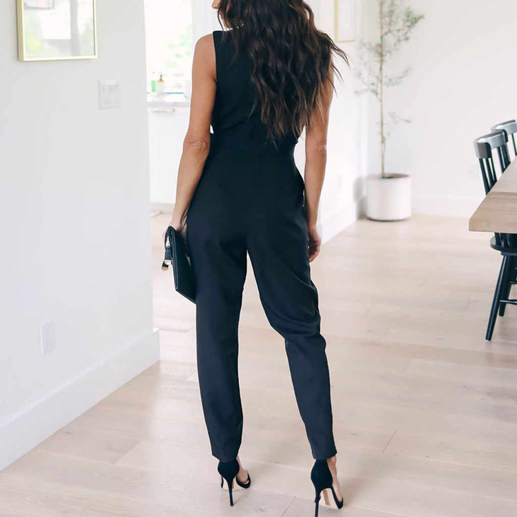 Overalls สำหรับผู้หญิง office daily High Street Jumpsuit กระเป๋า Elegant Lace V คอแขนกุด Rompers Playsuit Salopette Femme