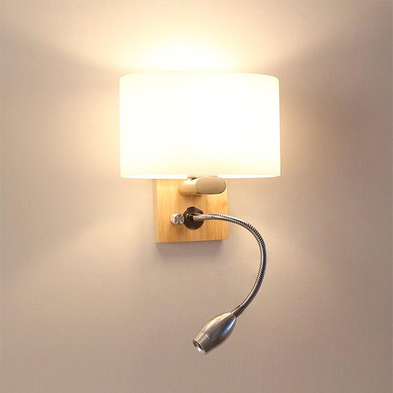 Бра Современный деревянный настенный светильник огни для Спальня дома Освещение LED Бра одноцветное деревянная стена света E27 Лестницы прик...