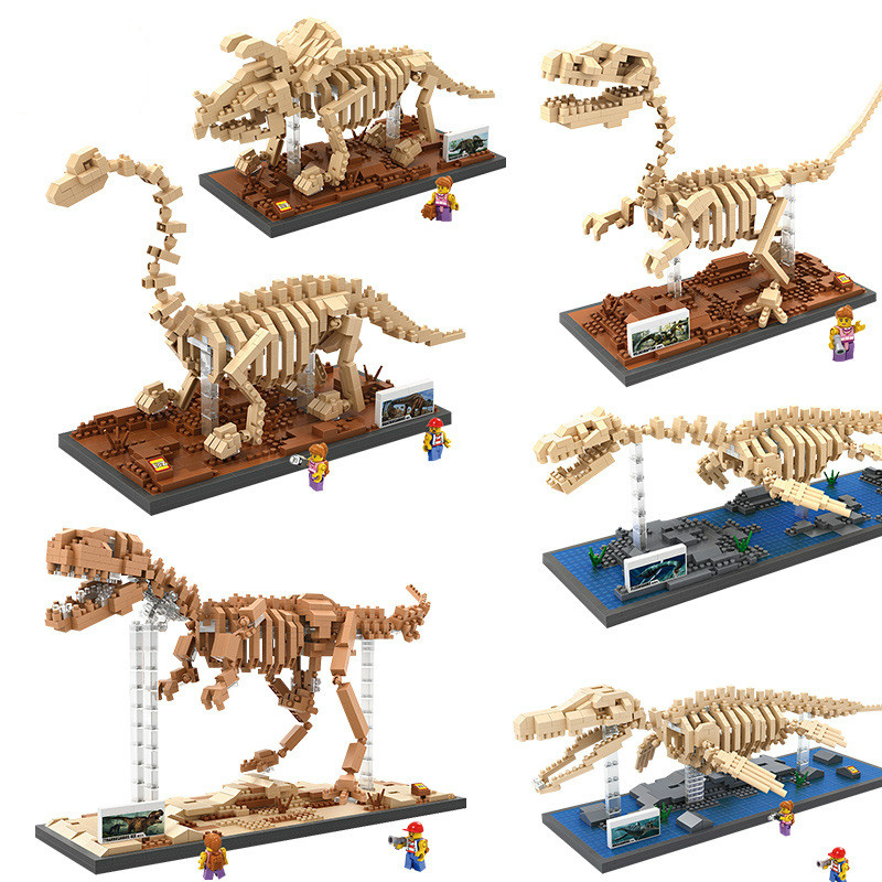 2017 Mini Blocks Dinosaur DIY Building Bricks Fossil 3D Auction Figure Tyrannosaurus Rex Micro Blocks Kids Toy Boy Jurassic Gift 79151 77001 jurrassic dinosaur tyrannosaurus building blocks dinosaur action figure bricks toys christmas gift dinosaur
