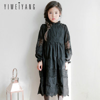 Girl Dress 2018 Autumn New Children's Dress Black Chiffon Embroidered Princess Dress Big Girl 3 13 year old Sweet Long Dress