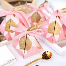 5pcs Triangular paper Candy Boxes kids birthday Party Wedding Baby Bridal Shower Gift bag chocolate package With thank you Tags