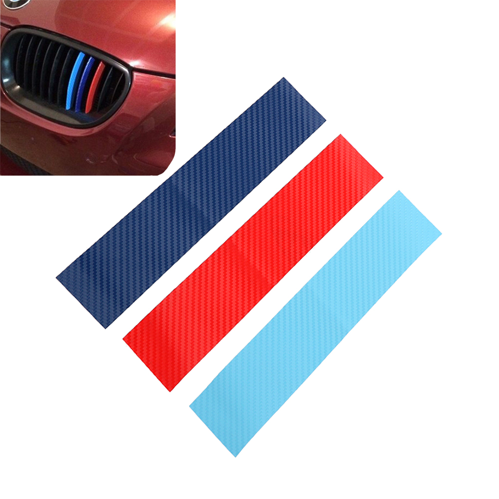 LEEPEE 3pcs/set Car Stickers And Decals Carbon Fiber Front Grill Stripes Decals For BMW M3 M5 M6 E46 E39 E60 E90 Car-styling