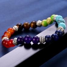 100% all Natural Stone Beads 7 Chakra Bracelet for Women Men Yoga Buddha Player Small / Big 2 Sizes Dorp Shipping Bracelets