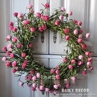 45cm diameter artificial PE rose flower door wreath wedding garland decorative door wreathes corona de la puerta FREE SHIPPING