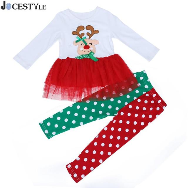 ed9a8c49ba696 JOCESTYLE 2pcs Baby Girl Christmas Suit Set Xmas Long Sleeve Tops +  Stitching Pants Infant Toddler Kids Xmas Clothing Clothes