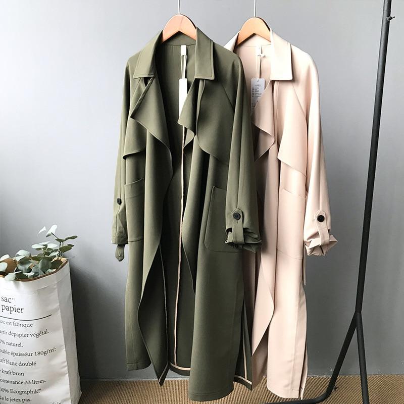 19 Spring Women Long Coat Turn Down Collar Harajuku Women Army Green Trench Coat Casaco Feminino Abrigo Mujer Trench Femme 7