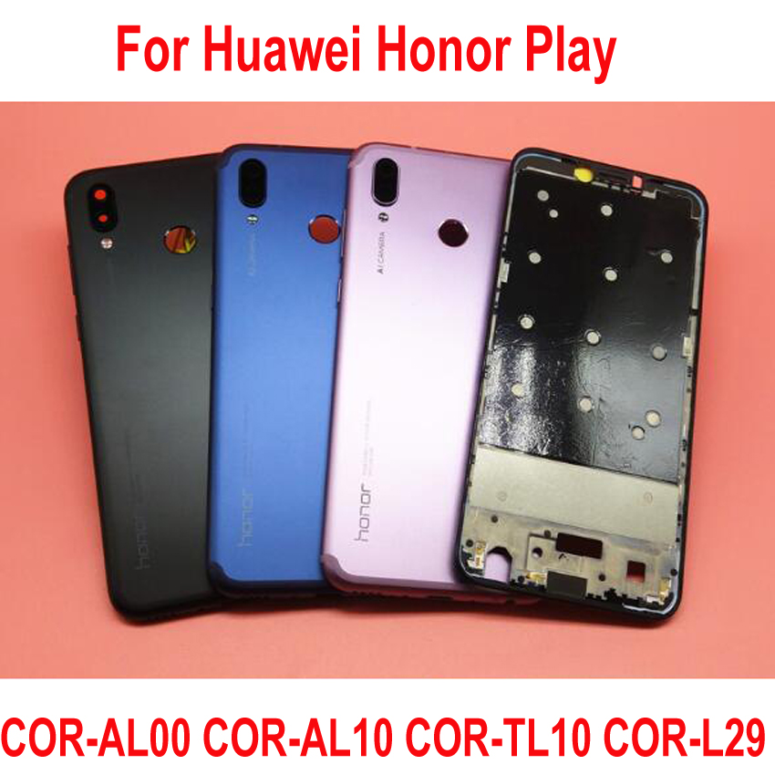 Original Battery Back Cover For Huawei Honor Play COR-AL00 COR-L29 Housing  Door Rear Case Middle Frame + Buttons + Camera Lens