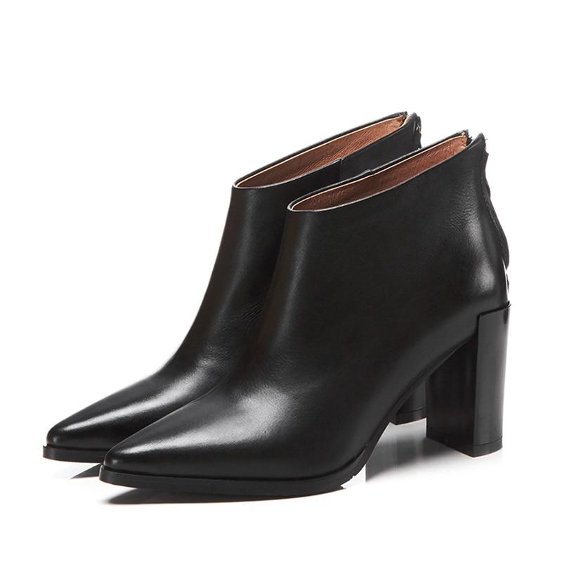 Zapatos de tacón alto de Invierno para mujer, zapatos de punta estrecha, zapatos de bota de cuero genuino para mujer, zapatos con cremallera 2019 negro y rojo-in Botas hasta el tobillo from zapatos    2