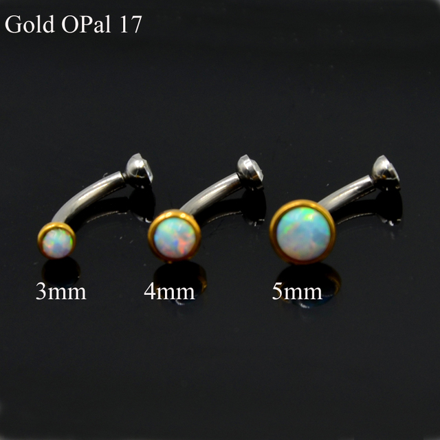 1Piece  Opal and CZ Gem Ear Tragus Cartilage Earring Stud  Eyebrow RingBody Piercing Jewelry with Internally Thread 16g 3