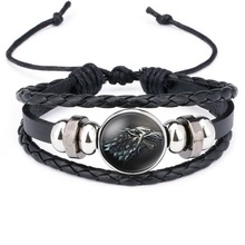 2019 Game of Thrones House Stark Wolf Glass Cabochon Leather Bracelets Multilayer Knitted Handmade Punk Black Bracelets for Men technology of multilayer and spacer knitted fabrics