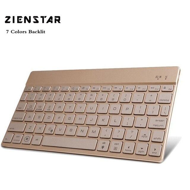 zienstar ultra slanke draadloze bluetooth toetsenbord met 7 kleuren led achtergrondverlichting voor ipadiphone