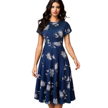 Summer Women Elegant White Floral Short Sleeve Women Dress Office Party Mid-Calf Vintage A-line Dress Vestidos EA102