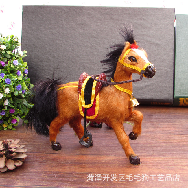 new creative simulation brown horse toy polyethylene furs horse with saddle font b and b font