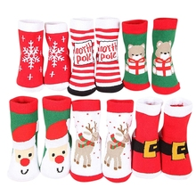 6 pairs Christmas Socks Baby Boy Girl 1-3 Years Cotton Pure Thick Soft Breathable Autumn Winter Warm Sock Colors Mixed -