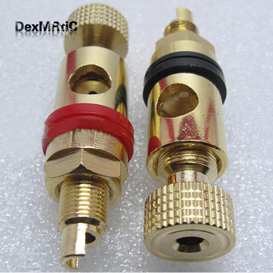 A pair Banana connector Gold-plated Banana plug sockets Copper supply terminal for Stereo speakers New a pair banana connector full gold plated copper rca socket terminal for amplifier av audio