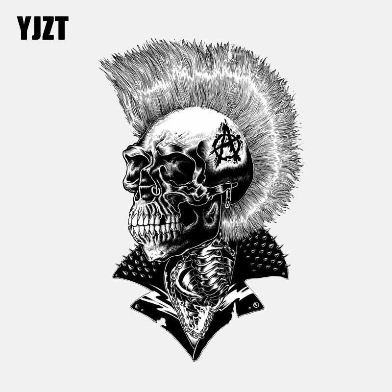 YJZT 10.5CM*16.5CM Punk Skull Head Decal Helmet Motorcycle PVC Car Sticker 6-2596
