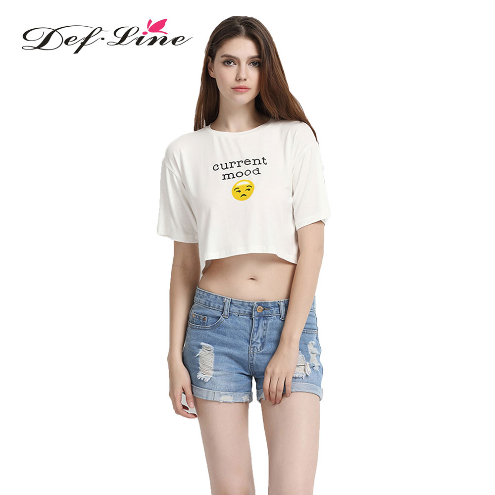 Defline 2016 vogue women t shirt white crew neck short for Women s crew t shirts