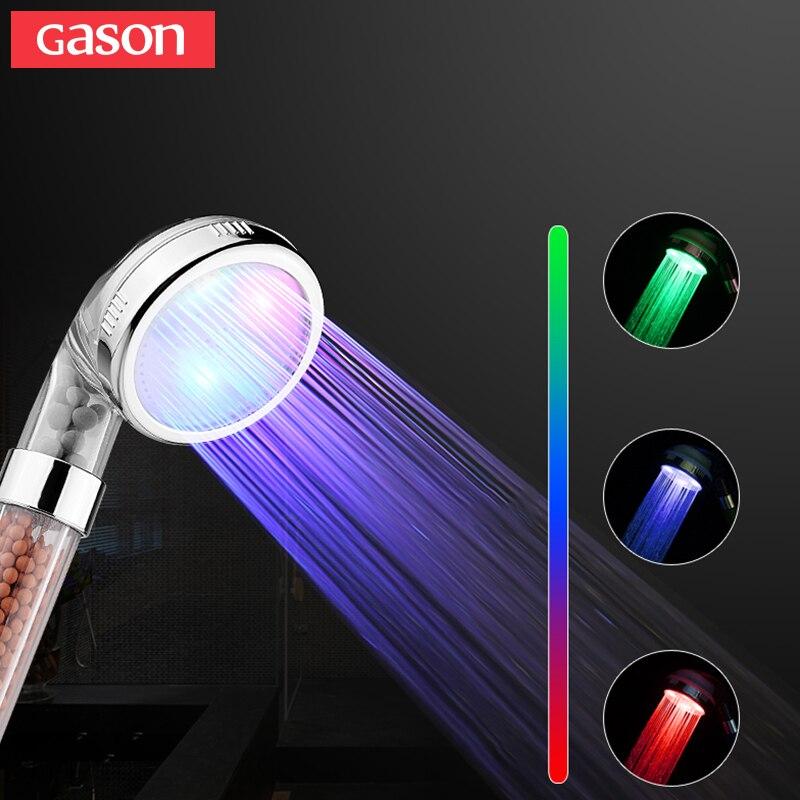 GASON température contrôle couleur douche à main tête section à haute pression filtre LED ions négatifs spa salle de bains douche tête GN02-07