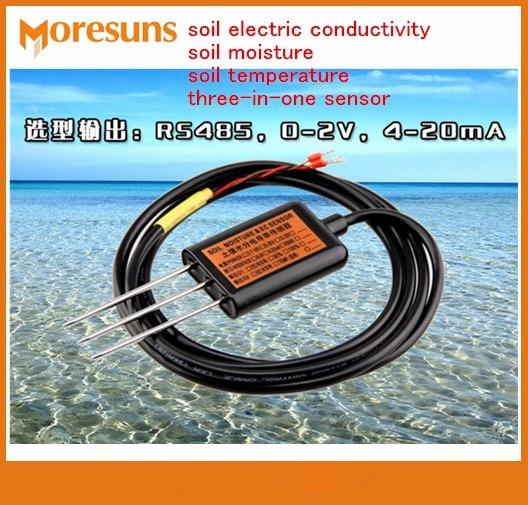Livraison rapide EC + T, 0-2 V EC + T, 4-20mA EC + T, RS485 conductivité électrique du sol humidité du sol température du sol capteur trois-en-un