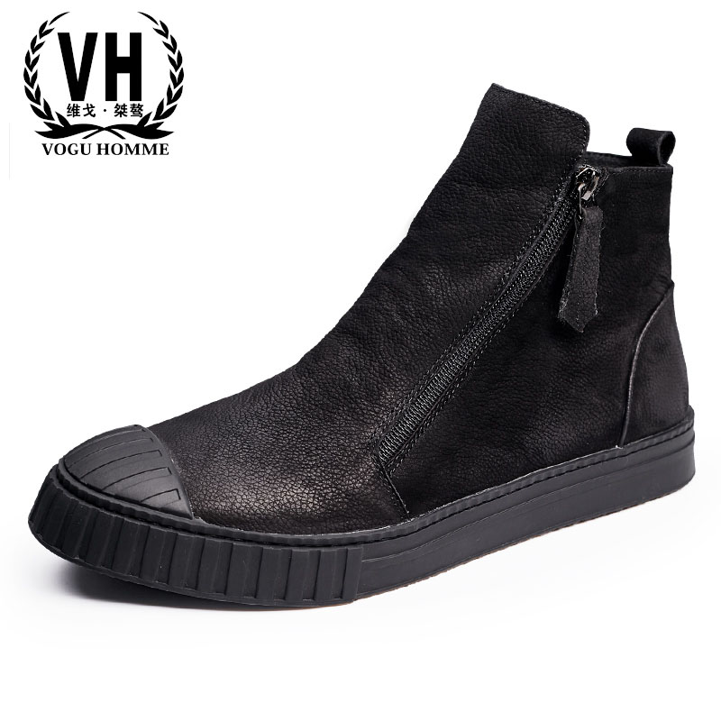 Autumn and winter zipper high shoes British retro men shoes zipper leather shoes breathable sneaker fashion boots martin boots men s high boots korean shoes autumn winter british retro men shoes front zipper leather shoes breathable
