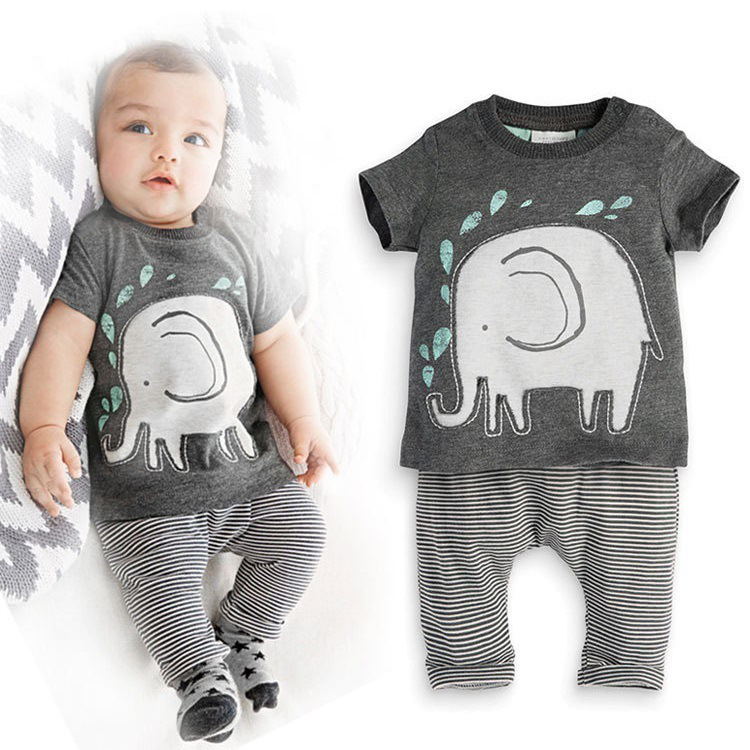 Newborn Cotton Cartoon Baby Boy Girl Clothing Set Infant Elephant Words Printed T-shirt Tops+Pants ShortSleeve Kids ClothesST230 5 pcs newborn baby boy girl clothing set cotton cartoon monk tops pants bib hats infant clothes 0 3 months