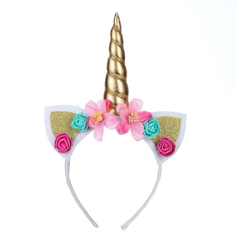 Styling Tools Beauty & Health 2019 Fashion 1pc Headband Glitter Unicorn Horn With Chiffon Flowers Hair Hoop Party Hair Styling Tool Braiders For Kids 6 Colors Choice Materials