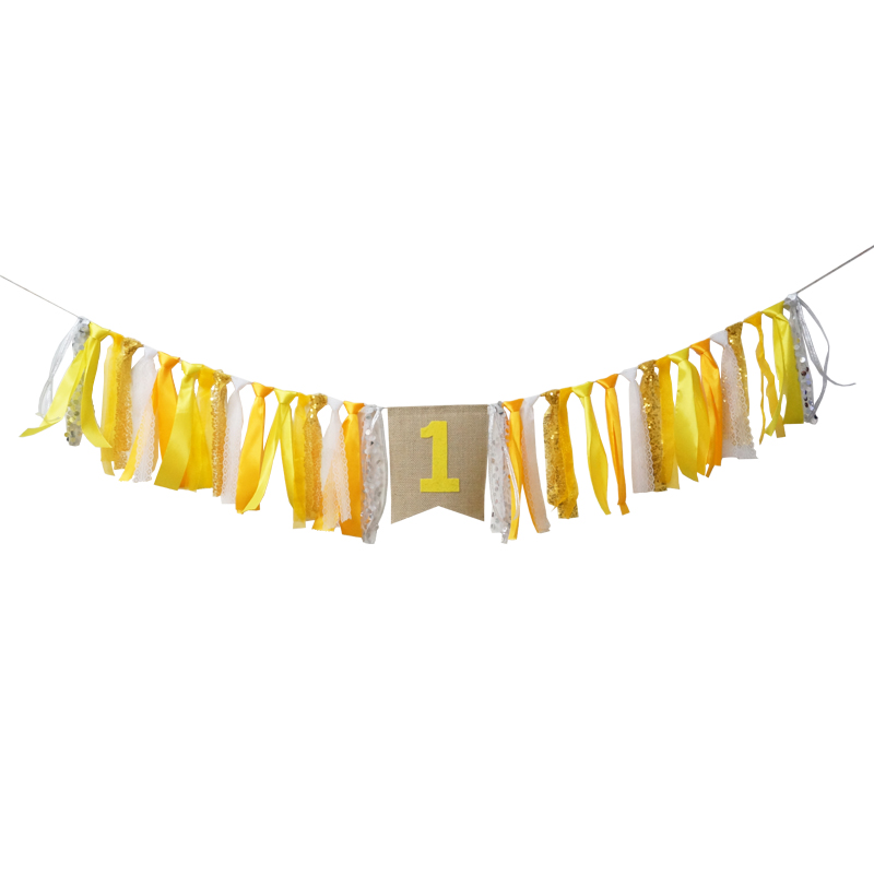 Shining Yellow Orange Ribbon Happy Birthday Baby Shower Backdrop Stand Customized Flag Party Decoration Chair Nursery Garland