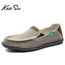 KATESEN New canvas men's shoes breathable high quality casual shoes slip easy to wear driving shoes fashion soft bottom loafers highlight women s fashion shoes strong is not easy to wear suitable for girls to wear shoes in formal places low price for sale