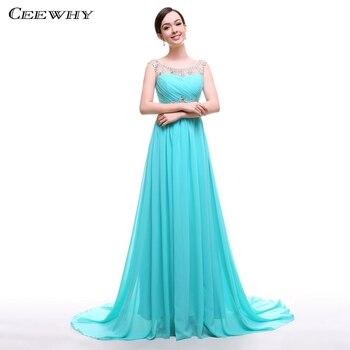 CEEWHY Mint Green Formal Gowns A-Line Long Evening Dresses Beaded Party Elegan Prom Dresses Chiffon Evening Dress Abendkleider