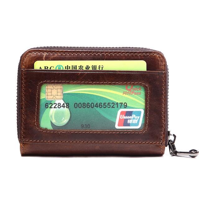 Vintage Credit Card Holder Genuine Leather Business Cards Wallet Id Organizer Flap Bag