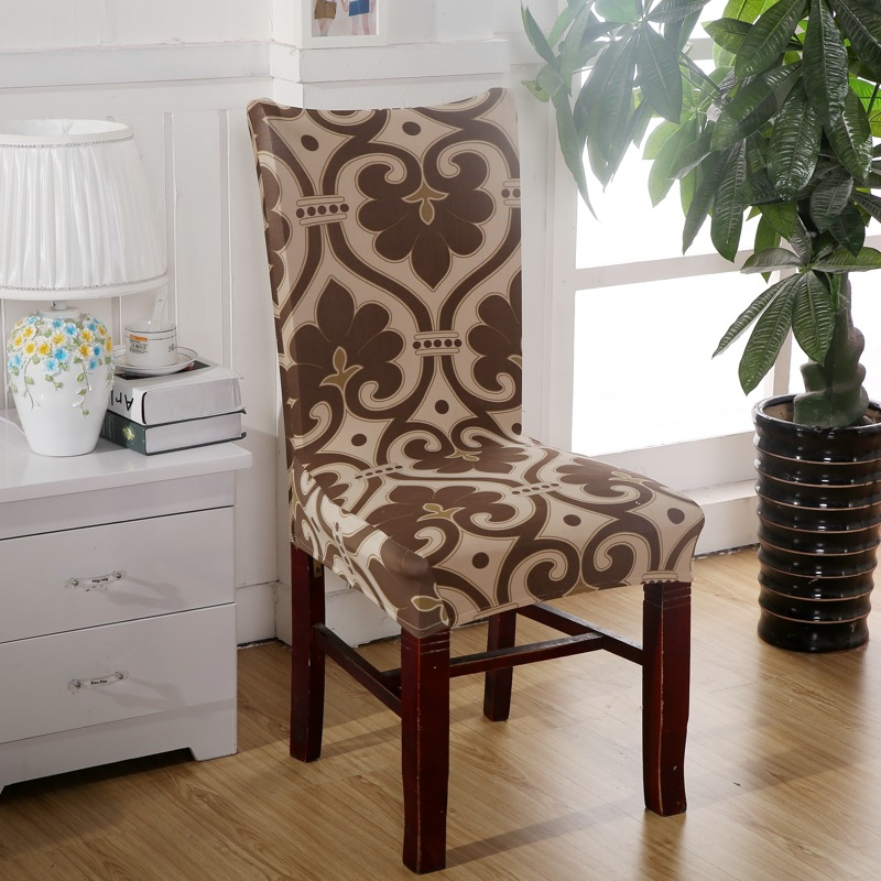 Brown Chair Covers Cheap Jacquard Stretch For Dining Room Decoration Short Half Machine Washable V43