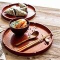 Круглый поднос для снэков из натурального дерева  тарелка для чая  завтрака  поднос для хлеба  полый дизайн  фруктовый комбинированный насто...